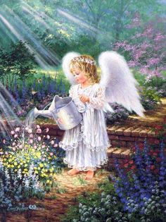 Angel caring for the flowers.....