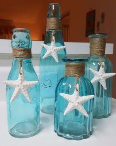 Starfish Beach Glass Vase Sea Glass Vase Beach Decor Blue Turquoise Ribbed