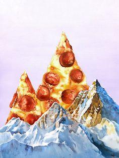 'Pepperoni Pizza Peaks' Canvas Print by jamesormiston Pepperoni Pizza Peaks Leinwand drucken Comida Pizza, La Trattoria, Pizza Art, Pizza Pizza, I Love Pizza, Quirky Art, Art Original, Arte Pop, Canvas Prints