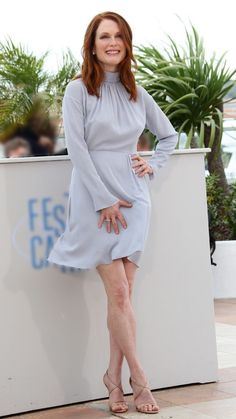 "Julianne Moore attends photo call for ""Maps To The Stars"" during the Annual Cannes Film Festival in Cannes, France in a Nina Ricci dress paired with Christian Louboutin sandals. Julianne Moore, Demi Moore, Gillian Anderson, Beautiful Redhead, Beautiful Women, Jessica Chastain, British Actresses, Red Carpet Dresses, Best Actress"