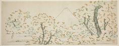 Mount Fuji with Cherry Trees in Bloom by Katsushika Hokusai 1800  Color woodblock print; surimono