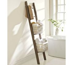 Lucas Reclaimed Wood Bath Ladder Storage #potterybarn-want to find something similar (& cheaper!)