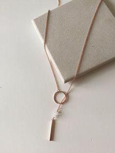 Lariat Herkimer Diamond Necklace