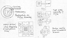 Louis Kahn - drawing of the first Unitarian Church, Rochester . Drawing Sketches, Drawings, Sketching, Louis Kahn, Concept Diagram, Drawing Techniques, One Design, Architecture Diagrams, Classical Architecture