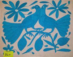 "Otomi stencil Fabric Embroidery Textile Fabric Tenango Mexico Turquoise Blue 13"" X 16"" #86T"
