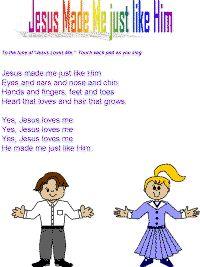 Jesus made me just like Him color poster Bible School Crafts, Preschool Bible, Preschool Lessons, Lessons For Kids, Bible Crafts, Childrens Bible Songs, Bible For Kids, Music For Kids, Kids Songs