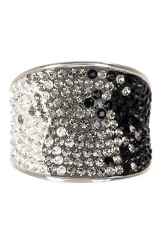 Sterling Silver Pave Ombre Crystal Ring