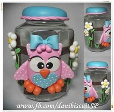 Pote coruja Clay Houses, Biscuits, Polymer Clay, Jar, Bottle, Crafts, Diana, Inspiration, Pasta Crafts