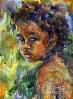 Boy Watercolor Portrait by Svetlana Novikova