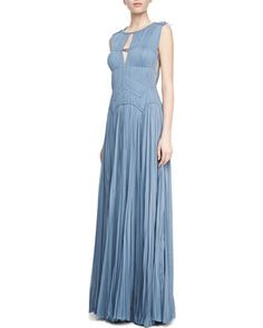 Sleeveless+Hand-Pleated+Gown,+Heron+Blue+by+J.+Mendel+at+Neiman+Marcus.