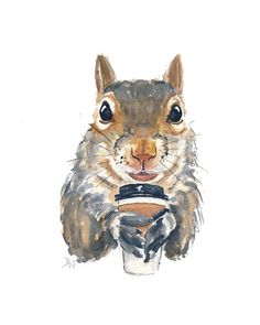 Squirrel Watercolor Original Painting  Coffee by WaterInMyPaint