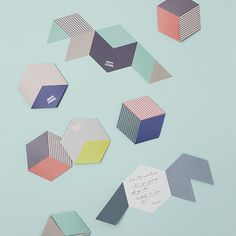 Tricoté Dictionary_STRIPE CARD geometry invitations. Print, hexagone