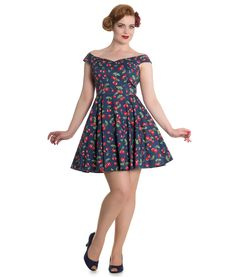 Gorgeous mini dress with a pretty cherry pattern on an ''Estate Blue'' coloured background.  Fitted, lined, bodice with off-shoulder/sweetheart neckline.  Flattering cap sleeves.