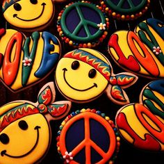 Hippie Birthday Party, Hippie Party, 60th Birthday Party, Birthday Cookies, Cupcakes, Cupcake Cookies, Hippie Cake, Peace Cake, Music Cookies