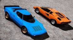 Designed by Marcello Gandini from Bertone: Lamborghini Countach LP 400 and Lancia Stratos - Brilliant stuff.