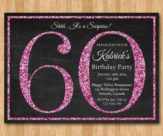 60e invitation anniversaire. Invitation de fête d'anniversaire de paillettes rose. 60e 70e 90e 80e. Anniversaire Surprise adulte. Élégant. BRICOLAGE numérique imprimable.