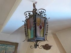 Antique French leaded glass lantern chandelier iron lighting hanging ceiling light lamp, rustic country cottage gothic goth decor