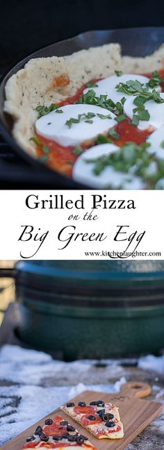 Grilled Pizza Big Green Egg #CastIron #Pizza #Grill #BGE #BigGreenEgg #GrilledPizza