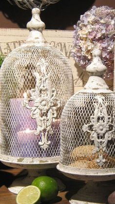 Interesting wire cloches with designs on them