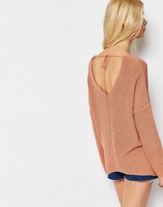 ASOS Jumper In Slouchy Fit With V Front V Back and Tie Detail