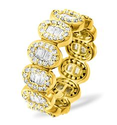 If she loves big, bold jewellery then this is the eternity ring for her. The attention grabbing Sophie eternity ring features 1.50CT of H/SI Quality Diamonds in a mixed baguette and round design to create a stunning look. The ring is finished with 18K yellow gold which further enhances the sparkle of the diamonds. £1865.00