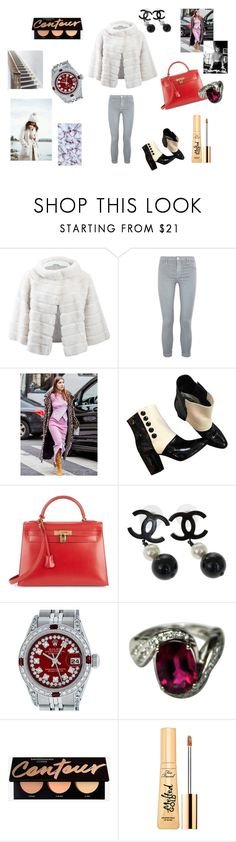 """""""Snow girl"""" by maria-chamourlidou ❤ liked on Polyvore featuring Yves Salomon, J Brand, Yves Saint Laurent, Chanel, Hermès, Rolex and Too Faced Cosmetics"""