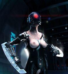 Cyberpunk, Cyborg, Future, Futuristic, Illustration by Rusnar (  © Piotr Rusnarczyk )