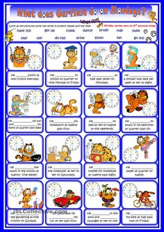 Present simple routines and time with Garfield