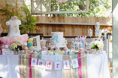 Ribbons and Bows Birthday Baby Party - Kara's Party Ideas - The Place for All Things Party 1st Birthday Party For Girls, Vintage Birthday, Birthday Party Themes, Birthday Ideas, Birthday Table, Outdoor Birthday, Birthday Decorations, Happy Birthday, Fiesta Shower