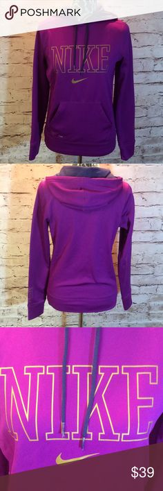 NIKE THERMA FIT HOODIE/TOP Gorgeous fuschia Nike hoodie in excellent condition. Nike is trimmed out in gold Nike Tops Sweatshirts & Hoodies