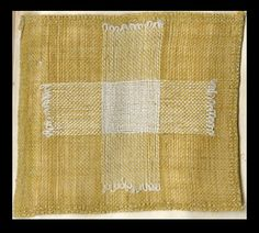 """""""DARNING. The work is to be held across the first and second fingers.A thread is taken and a thread left alternately: and at the end of every line a loop of cotton is left. When a hole is crossed,it should be worked from the middle towards the sides. The needles used for darning are made very long and thin."""" From """"Instructions on Needlework and Knitting as Derived from the Central School"""", p.18.  MMA 30.68.21"""