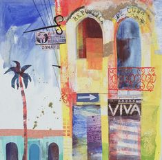 viva by karen stamper Mixed Media Collage, Collage Art, Collage Ideas, Collages, Abstract Landscape, Abstract Art, Travel Collage, Moroccan Art, Art Journal Pages