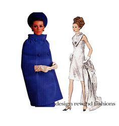 1960s Pierre Cardin VOGUE DRESS & Double Breasted CAPE Pattern Vogue 1722 Paris Original by DesignRewindFashions Vintage & Modern Sewing Patterns on Etsy