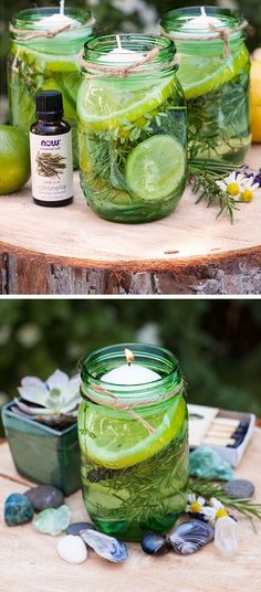 No more smelly mosquito candles! Create the perfect outdoor atmosphere without the stench with these cute DIY ideas.