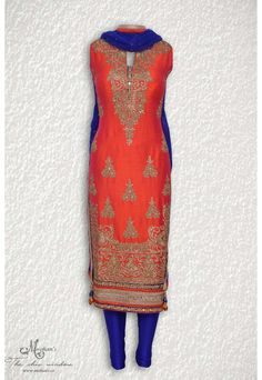 Blingy gajari and royal blue adorn in rich ornate embroidery