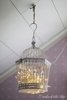 night light idea: twinkly lights in a bird cage