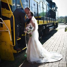 Destiny brings us together. Www.kathallphotos.com #love #train #bride #groom #thekiss #fairytalewedding #lovelandtrain #cincinnatiwedding #2016wedding #wedding #summerwedding #cathedralveil