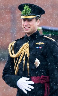Prince William on St. Patrick's Day 2013 wearing shamrocks on his hat.