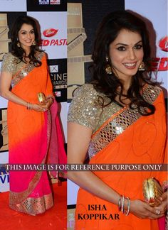 Modish Hot Pink and Orange Designer Wedding Saree