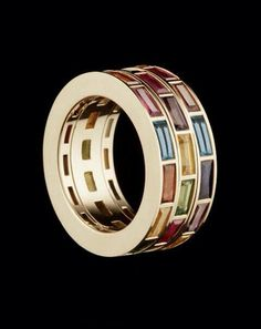 RUBIX RING - Fairtrade Fairmined gold and precious stones Three kinetic rotating bands. Designed by Hattie Rickards Jewellery Jewelry Rings, Unique Jewelry, Jewelry Accessories, Jewelry Design, Jewellery Box, Bijou Box, Love Ring, Designer Engagement Rings, Schmuck Design