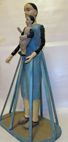 CARVED WOOD FEMALE MANNEQUIN WITH BABY - CAGE DOLL (bastidor)   eBay