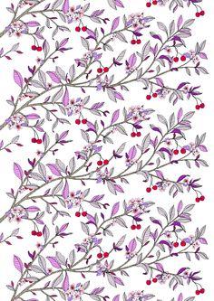 NEWS. Trends. FINLAND DESING. DECORATE FABRICS.  Kirsikka (purple) - By Tanja Orsjoki vallila.fi