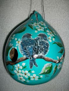 Your place to buy and sell all things handmade Hand Painted Gourds, Decorative Gourds, Gourds Birdhouse, Birdhouses, Pumpkin Crafts, Gourd Crafts, Bird Houses Painted, Stick Art, Gourd Art