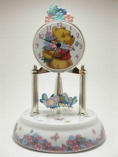 Disney Winnie The Pooh Ceramic Dome Mantle Clock Butterflies Move