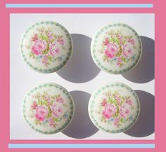4 PINK ROSE BOUQUET  tiny blue rose border Dresser Drawer  Knobs. $11.00, via Etsy.