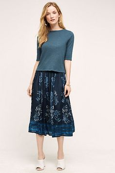 Soare Midi Skirt  I think that you could easily take this #floral #skirt into fall with a chunky sweater and knee high boots.  #anthropologie