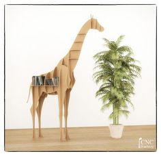 Giraffe book shelf - Cnc cutting file book shelf - Sliced 3d Model -animal template laser cutting - Interior design shelf