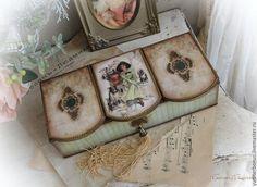 """Купить Шкатулка - триптих """"Девушка Фишера"""" - мятный, зеленый, бежевый, шкатулка, шкатулка для украшений"""