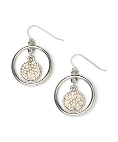 Look at this #zulilyfind! Two-Tone Pave Disc Drop Earrings #zulilyfinds