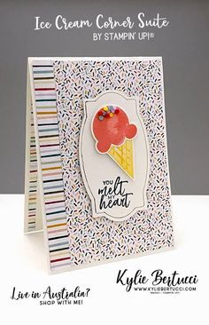 21 Cards, Deck Of Cards, Pretty Cards, Stampin Up Cards, Cardmaking, Birthday Cards, Projects To Try, Ice Cream, Paper Crafts